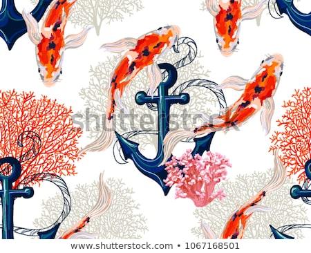 seamless sea pattern of watercolor anchors stock photo © elenapro