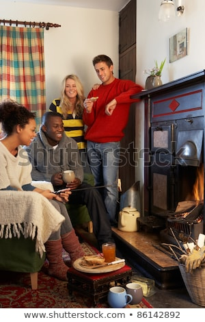 young adults making toast on open fire stock photo © monkey_business