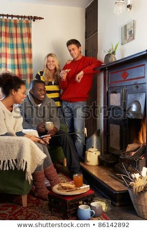 Giovani adulti toast aprire il fuoco casa fuoco Foto d'archivio © monkey_business