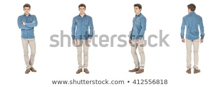 young man with muscular body in blue jeans stock photo © nejron