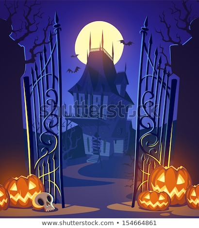 Old witch scary castle background, vector illustration Stock photo © carodi