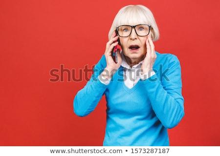 portré · megrémült · nő · gesztikulál · fehér · kezek - stock fotó © bmonteny