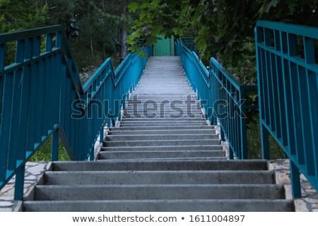 asian · jardin · pierre · escalier · bois - photo stock © bobkeenan