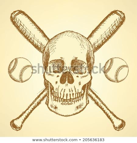 Kroki beysbol top bat el yüz Stok fotoğraf © kali