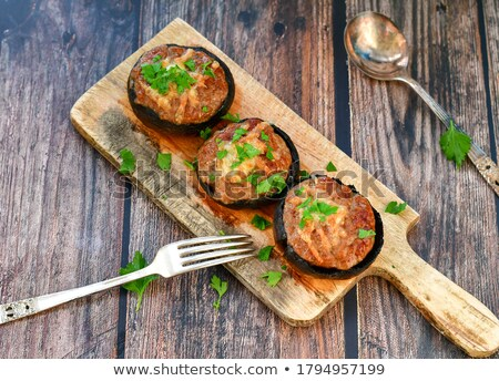 Fresh edible Portabello Mushroom Champignon and Parsley Stock photo © stevanovicigor