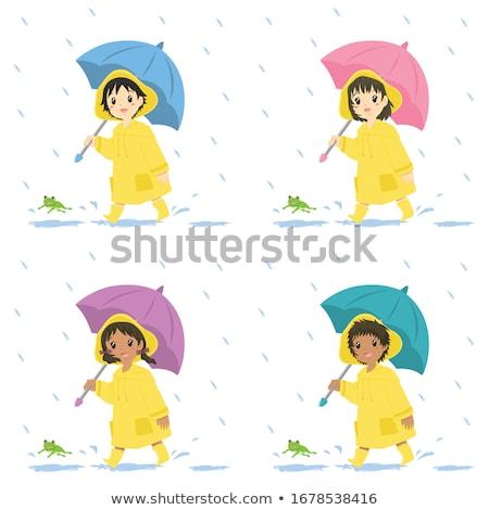 Meisje regenjas vergadering regenwoud vrouw gelukkig Stockfoto © ondrej83