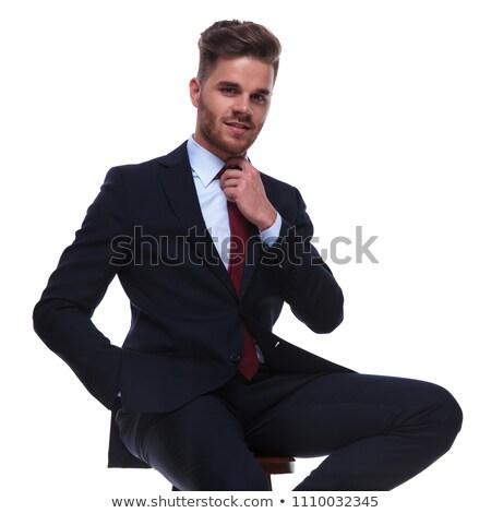 Rojo barba hombre sesión mano bolsillo Foto stock © feedough