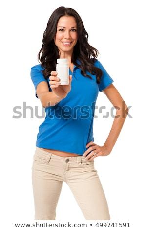 Fiatal nő diéta kiegészítő tabletta fiatal csinos Stock fotó © Habman_18
