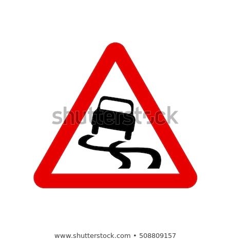 скользкий дорожный знак иллюстрация дороги снега льда Сток-фото © adrenalina