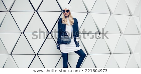 Stockfoto: Winter · mode · blond · portret · vrouw · witte