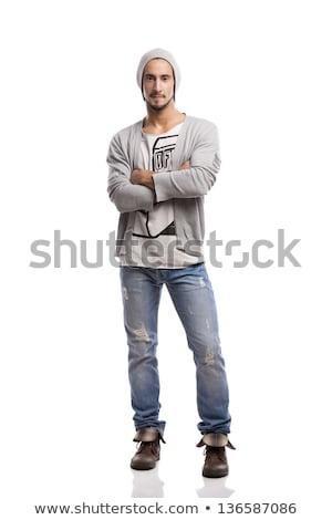 Portret ernstig man armen gevouwen witte Stockfoto © deandrobot