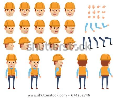 Ayarlamak karikatür işçi karakter dizayn yalıtılmış Stok fotoğraf © Voysla