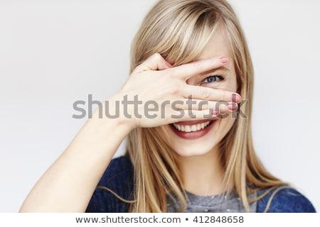 sarışın · kadın · beyaz · bakıyor · kamera - stok fotoğraf © stryjek