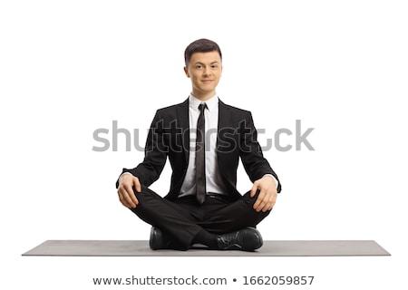 ビジネスマン · 座って · 雲 · 石油ランプ · 蓮 · 位置 - ストックフォト © cherezoff