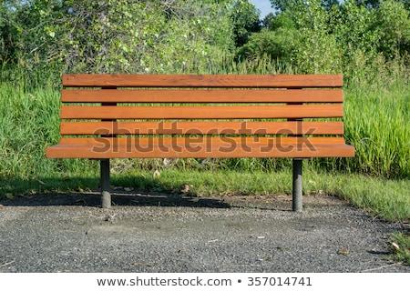 Photo stock: Vert · bois · banc · fer · résumé