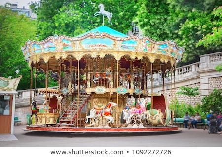 Parijzenaar carrousel Parijs Eiffeltoren landschap bomen Stockfoto © smartin69