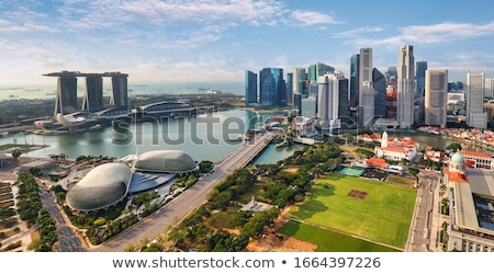 Singapour · coucher · du · soleil · panorama · marina · sable · Resort - photo stock © elnur