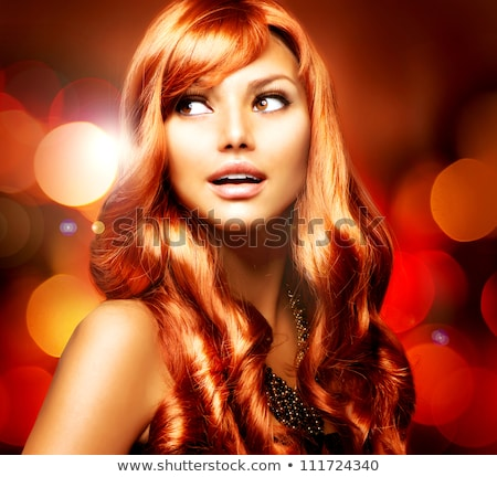 fashion brunette girl with long curly hair beauty makeup luxur stock photo © victoria_andreas