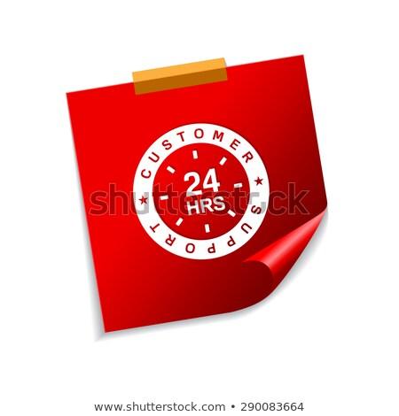 24 ügyfélszolgálat piros cetlik vektor ikon Stock fotó © rizwanali3d