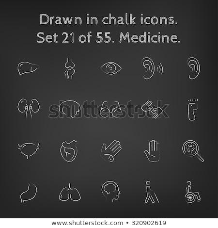wounded palm icon drawn in chalk stock photo © rastudio