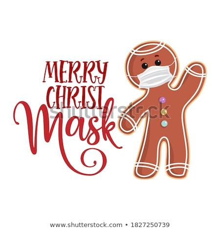 Karácsonyi üdvözlet mézeskalács ember csillag karácsony kréta alkat Stock fotó © Zerbor