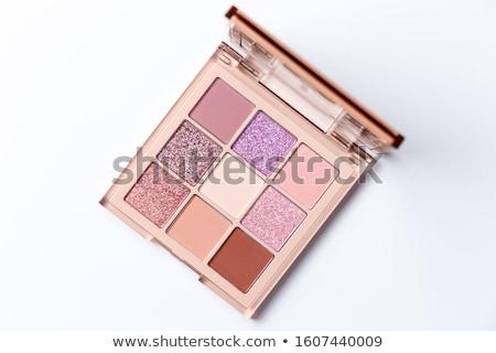 Oogschaduw palet borstel ingesteld decoratief cosmetica Stockfoto © OleksandrO