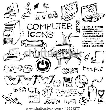 Cpu izlemek kroki ikon web hareketli Stok fotoğraf © RAStudio