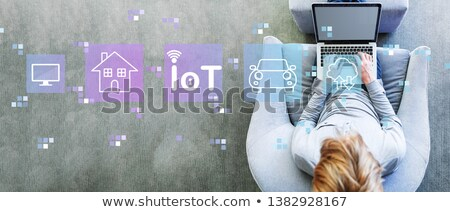 iot - internet of things in blue cube on boxes Stock photo © marinini