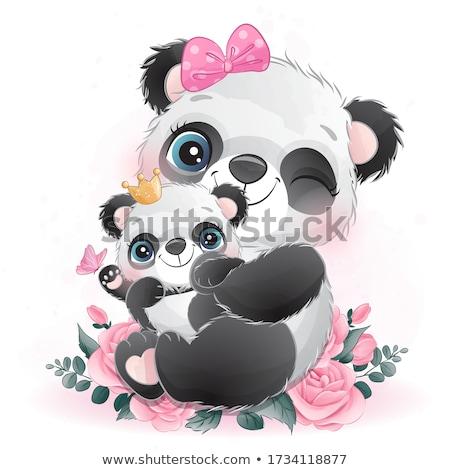 bebê · panda · ilustração · bonitinho · sessão · ramo - foto stock © doddis