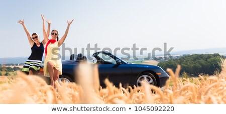 Women having joyride in convertible car having rest  Stock photo © Kzenon