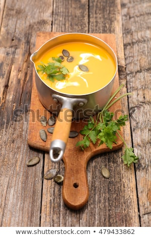 casserole with pumpkin soup on board stock photo © m-studio
