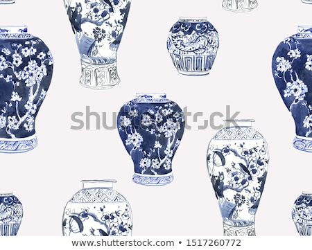 A big pot with blue flowers Stock photo © bluering