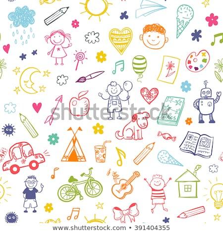 Naadloos doodle pijlen zwarte diagonaal richting Stockfoto © pakete