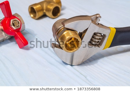 Brass bathtub and faucet over blue Stock photo © adrian_n