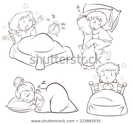 A plain sketch of kids sleeping and waking up early Stock photo © bluering