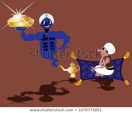 genie · Lampe · Illustration · Rauch · heraus · antiken - stock foto © bluering