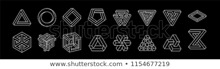 set of impossible shapes optical illusion vector illustration isolated on white stock photo © said