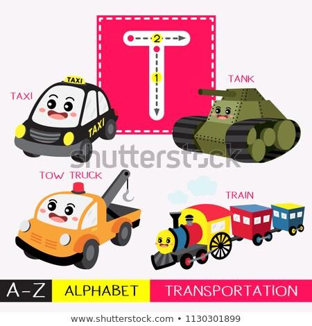 T betű teherautó illusztráció gyerekek gyermek háttér Stock fotó © bluering
