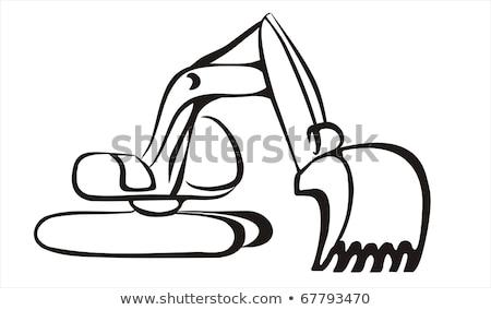 掘削機 · 手描き · スケッチ · アイコン · 移動 - ストックフォト © rastudio