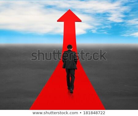 Empresários caminhada vermelho seta tornar gráfico Foto stock © anadmist