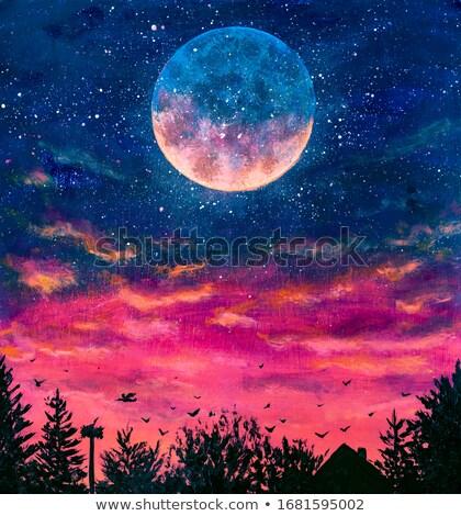 big blue moon over city Stock photo © romvo
