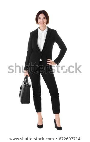 giovani · bruna · donna · abito · nero · piedi · guardando - foto d'archivio © deandrobot