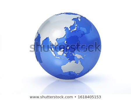 Glass Square globe 3D illustration Asia & Australia map Stock photo © 7Crafts