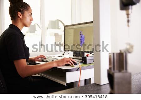 コンピュータ 作業 女性 グレー 書く ストックフォト © Saphira
