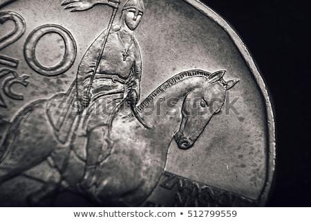 Saint Wenceslas on Czech koruna coin. Financial concept. Macro Stock photo © Kirill_M