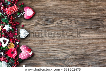 valentines day background with love themed elements like cotton and paper hearts stock photo © davidarts