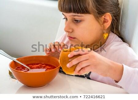Rosso zuppa ragazza mangiare sano pranzo ristorante Foto d'archivio © frimufilms