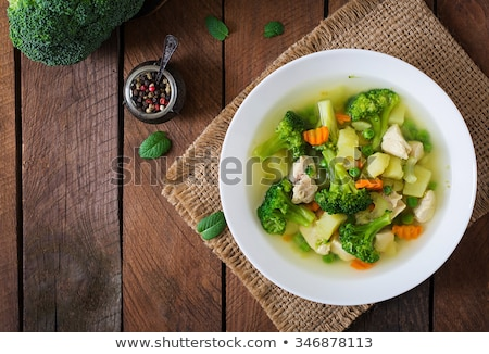 Plate of vegetable soup with meat Stock photo © Nobilior