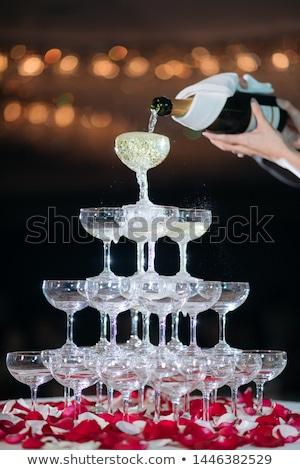 Champagne piramide evenement partij banket bruiloft Stockfoto © grafvision