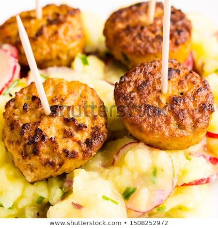 Bifsztek mustár felszolgált labda tányér hús Stock fotó © vertmedia